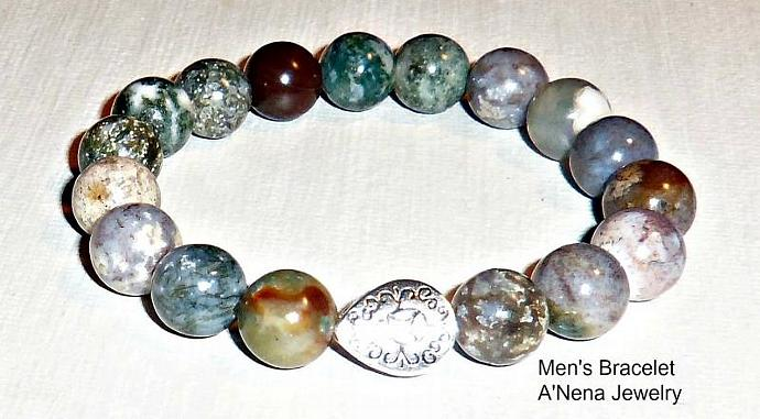 "Bracelet For Men Genuine Fancy  Jasper Silverplated Copper ""The Secret To Love """