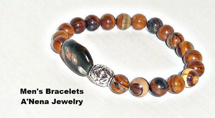 """Mens Bracelet  Genuine Banded Jade Beads And  Naodelite Focal Bead  """"Milagro"""""""