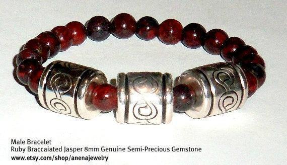 "Men's Bracelet Genuine Rare Ruby Brecciated Jasper  ""Love"" By Anena Jewelry"