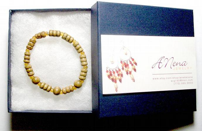 "Unisex Bracelet: Genuine Wood and Quartzite  ""I Am Strong """