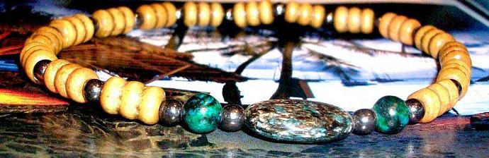 """Unisex  Bracelet:Genuine Hematite, Squama, Turquoise & Wood """"New Year, New Me!"""""""