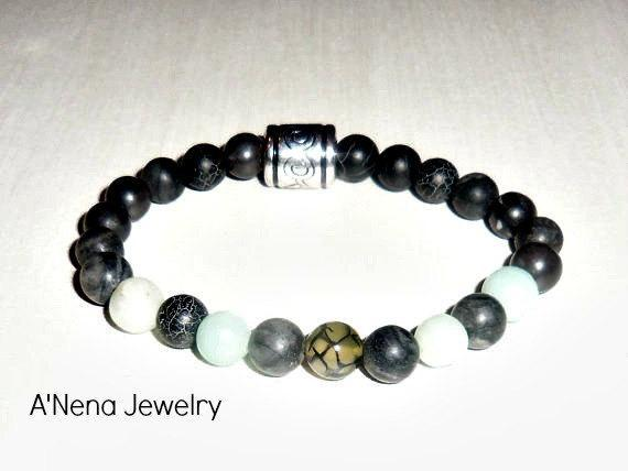 """Unisex Bracelet: Amazonite, Fire Agate and Network Beads """"I Am Able To Forgive!"""""""