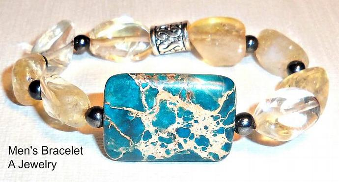 "Men's Bracelet  Turquoise , Hematite And  Citrine  "" Full  of Abundance and"