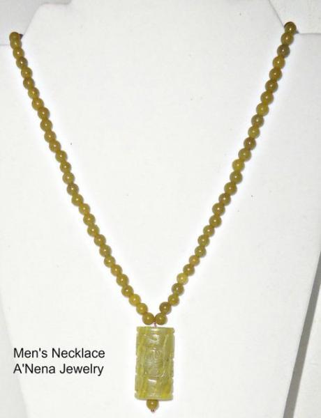 """Men's Necklace Korean Jade and Quartzite """"I'm Prosperous"""""""