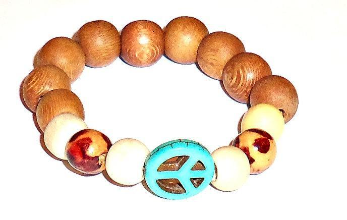 "Men's  Bracelet  ""PEACE"" Genuine Turquoise and Blonde and Tan Wood"