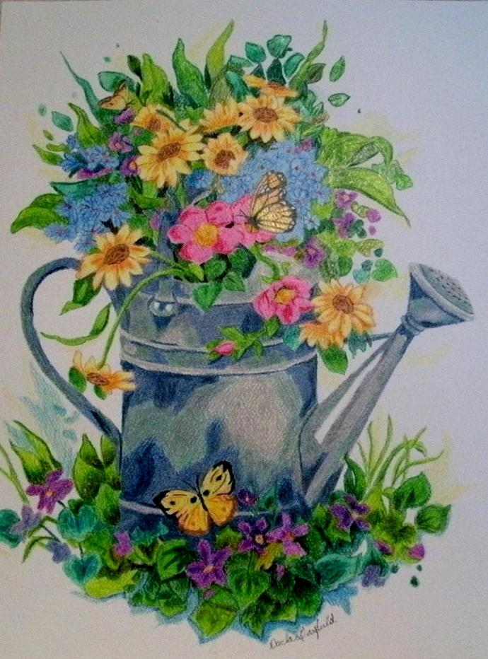Pastel Watering Can Still Life, fine art, realism, french country, garden, home