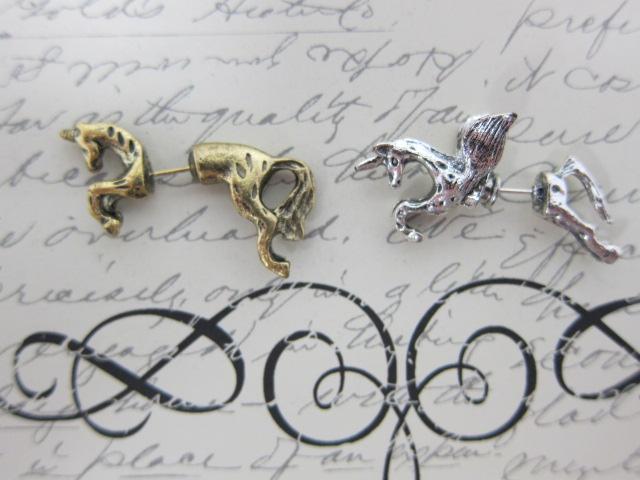 2pcs Fairy Unicorn Stud Earring - Silver/Bronze stl