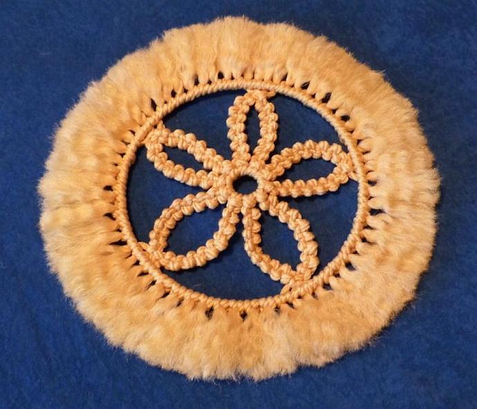 Macrame flower mat, light gold yarn, wall hanging, flower mat, flower, home