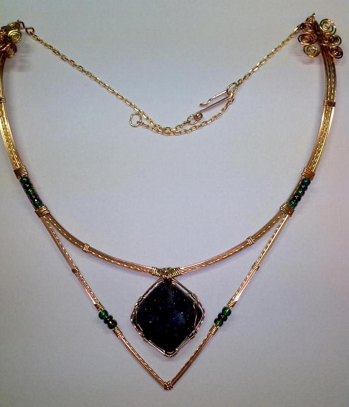 """""""Starry Night"""" Bronze and brass collar necklace; 26"""