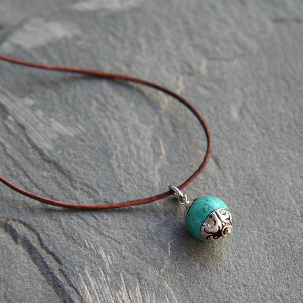 Tibetan Turquoise and Leather Necklace