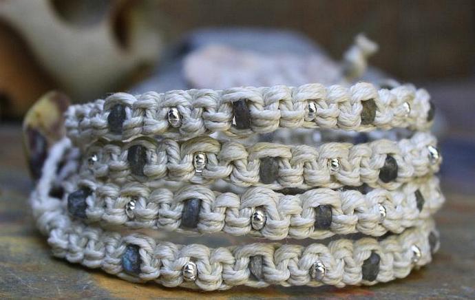 Quadruple Labradorite Waxed Linen Wrap Bracelet