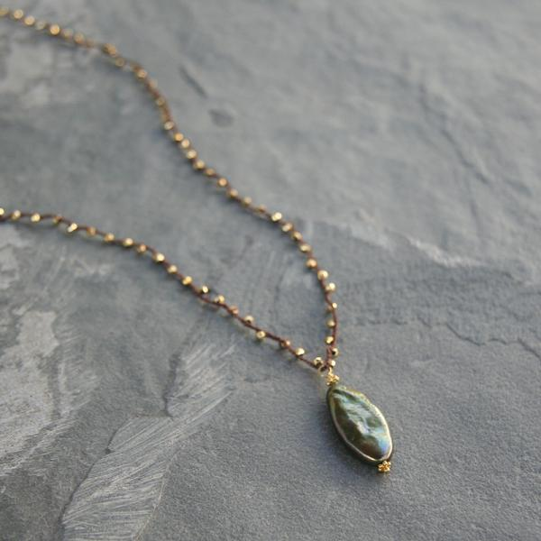 Green Pearl and Gold Necklace