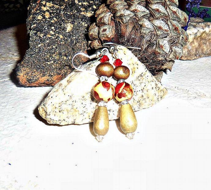 "Women's Earrings:Wood and Swarovski Crystal ""I Am Prosperously Successful"""