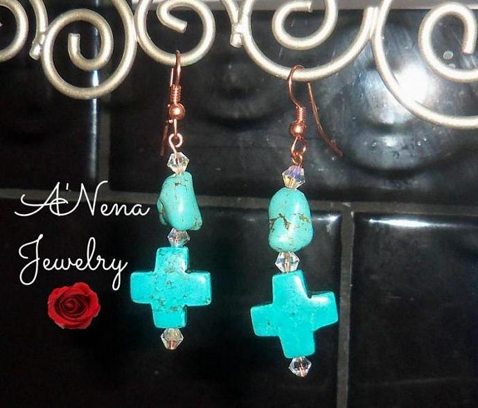 """Earrings  : Genuine  Howlite, Swarovski Crystal and Copper """"Safe and Secure"""""""