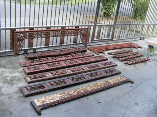TWELVE ANTIQUE bed panel Chinese Wedding Frame Board Nyonya gold & RED Color