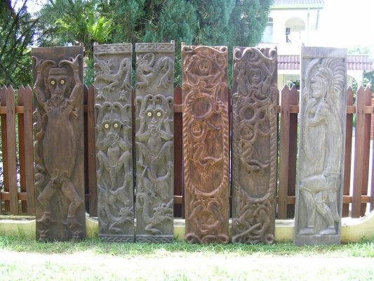 six Museum Quality DOOR WALL PANEL Borneo Home Rest House Garden Architecture