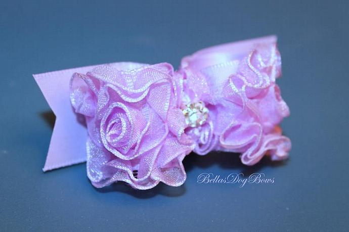 7/8 L-Couture Dog Bow (Lilac Organza with Swarovski Crystal)