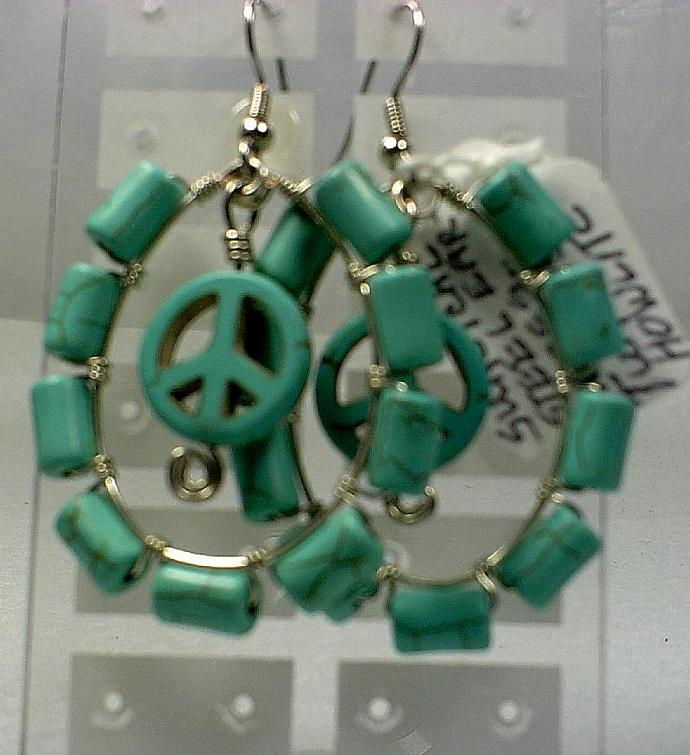 Silver and Turquoise Howlite Earrings-Item # 0161