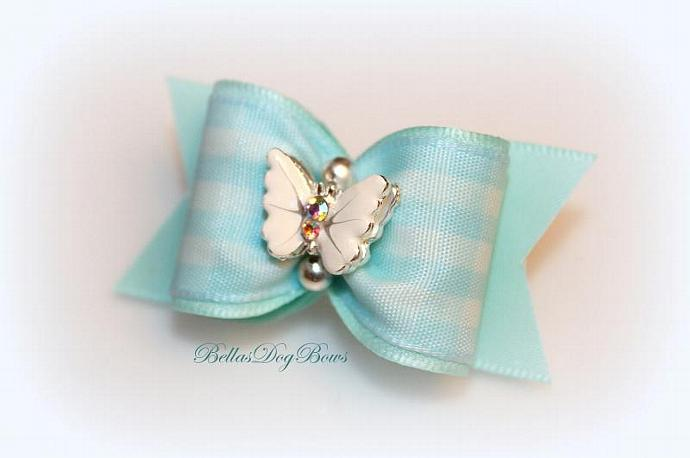 Aqua and White Check Dog Bow embellished with a 3-D Enamel Butterfly with AB