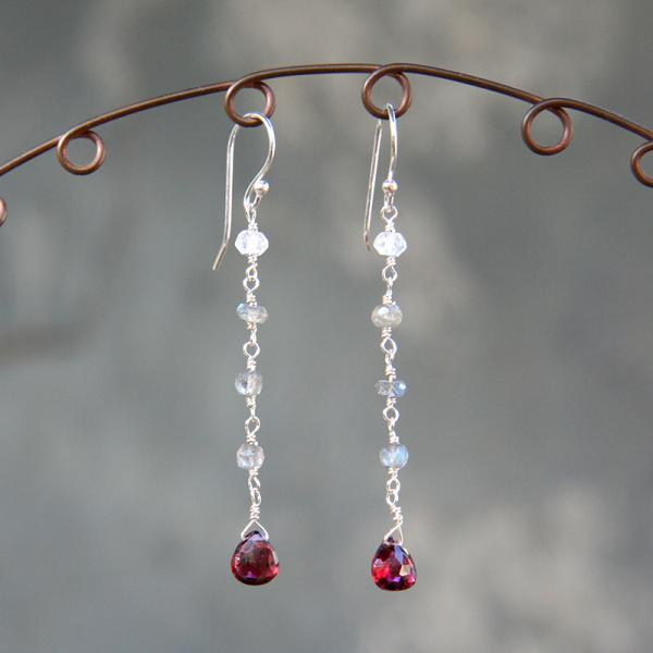 Garnet and Labradorite Dangle Earrings