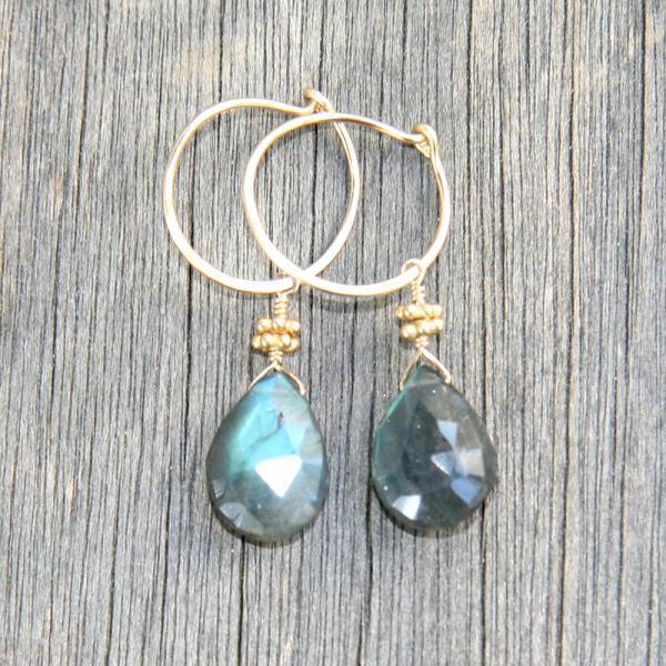 Gold Hoop with Labradorite Dangle Earrings