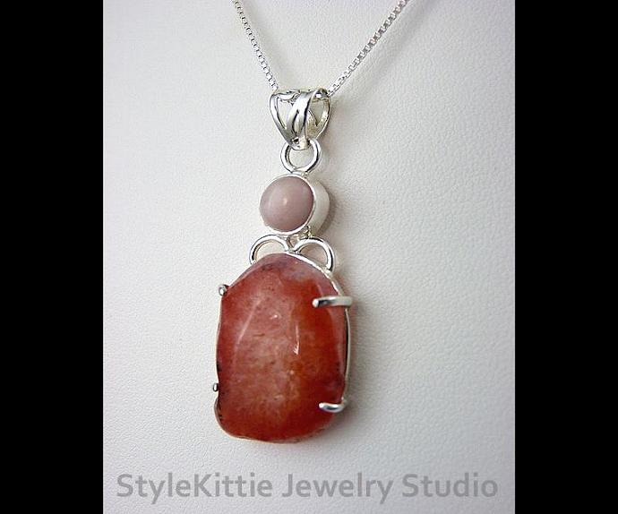 Tangerine Quartz and Pink Opal Sterling Silver Pendant