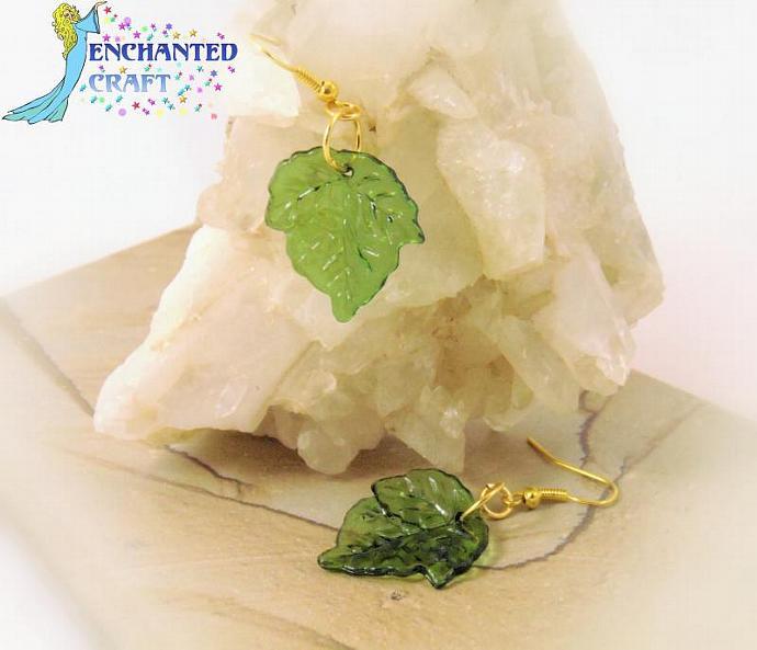Luscious Ivy Leaf Earrings- goldtone fishhook