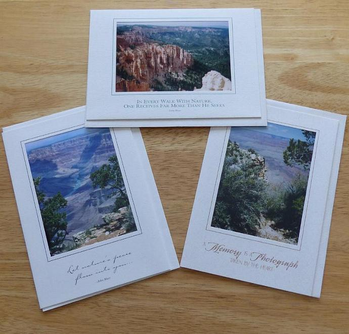 Collection of 3 photo cards,  Grand Canyon and Bryce Canyon greeting cards,