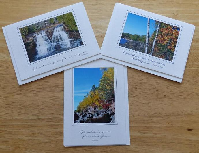 Collection of 3 photo cards, Autumn on Lake Superior greeting cards, Lake