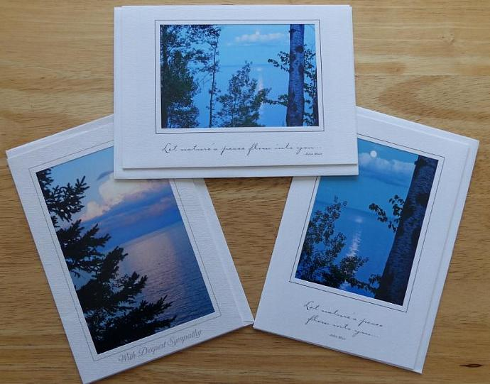 Collection of 3 photo cards, Moonrise and Sunrise on Lake Superior greeting
