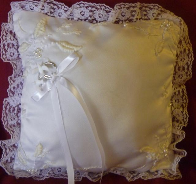 Hand Embroidered Satin and Lace Ring Bearer's Pillow