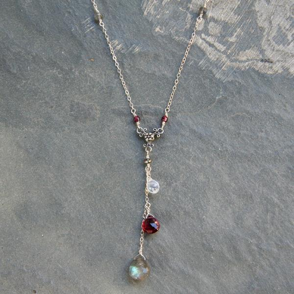 Labradorite, Garnet, and Moonstone Y-Necklace