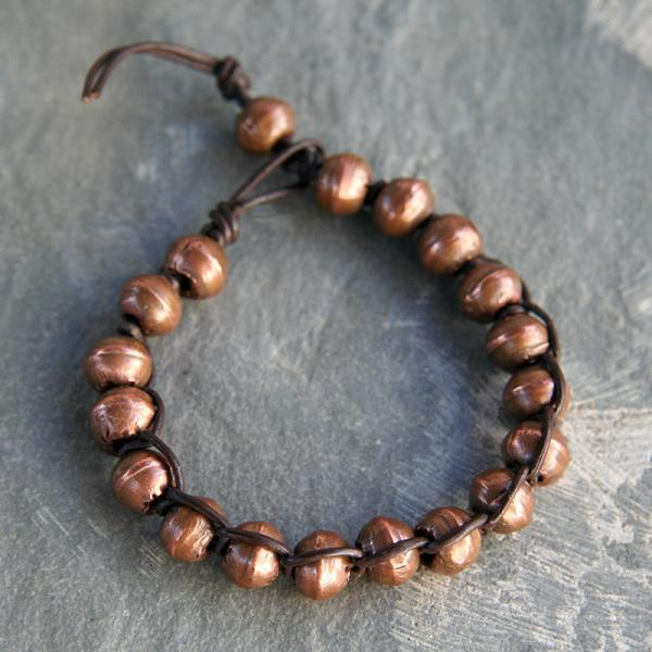Copper and Leather Bracelet