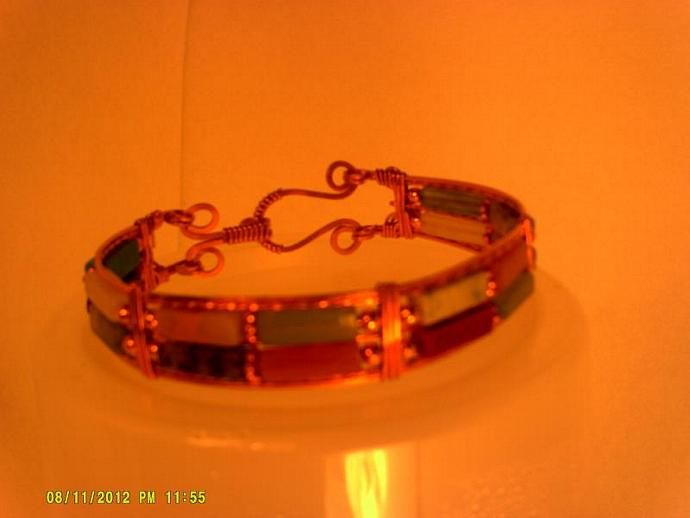 Copper and Mixed Gemstone Bangle-Item # 0155