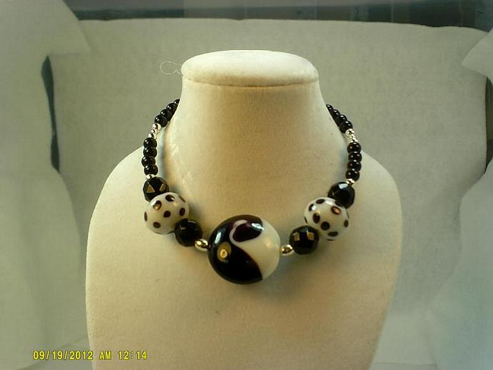 Sterling and Lampwork Bracelet-Item # 0150