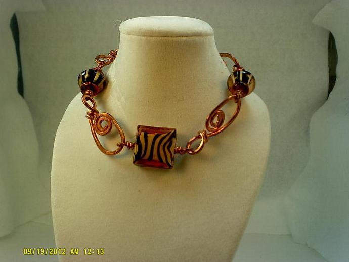 Copper and Lampwork Bracelet-Item # 0149