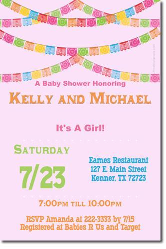 Fiesta Bunting Papel Picado Baby Shower Invitations *ANY COLOR SCHEME* (Download