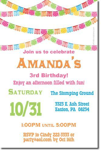 Papel Picado Fiesta Bunting Birthday Invitations (download jpg NOW)