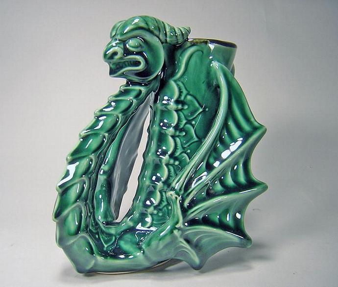 Viking Dragon Mug - Forest Green Gloss Glaze - (12)oz - Made To Order