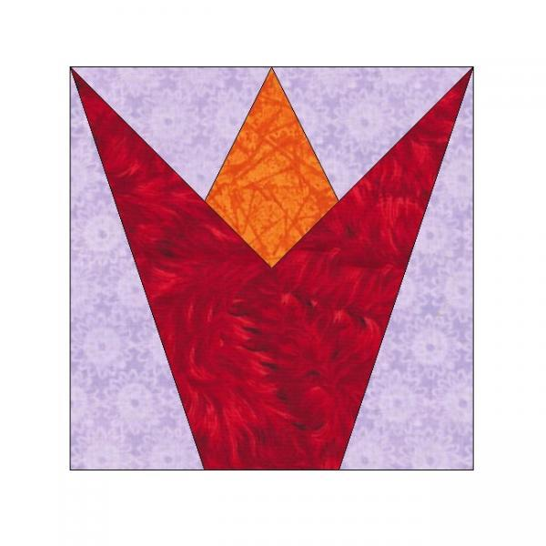 ALL STITCHES - TULIP PAPER PIECING QUILT BLOCK PATTERN .PDF -120A