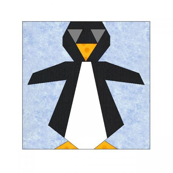 ALL STITCHES - PENGUIN PAPER PIECING QUILT BLOCK PATTERN .PDF -121A