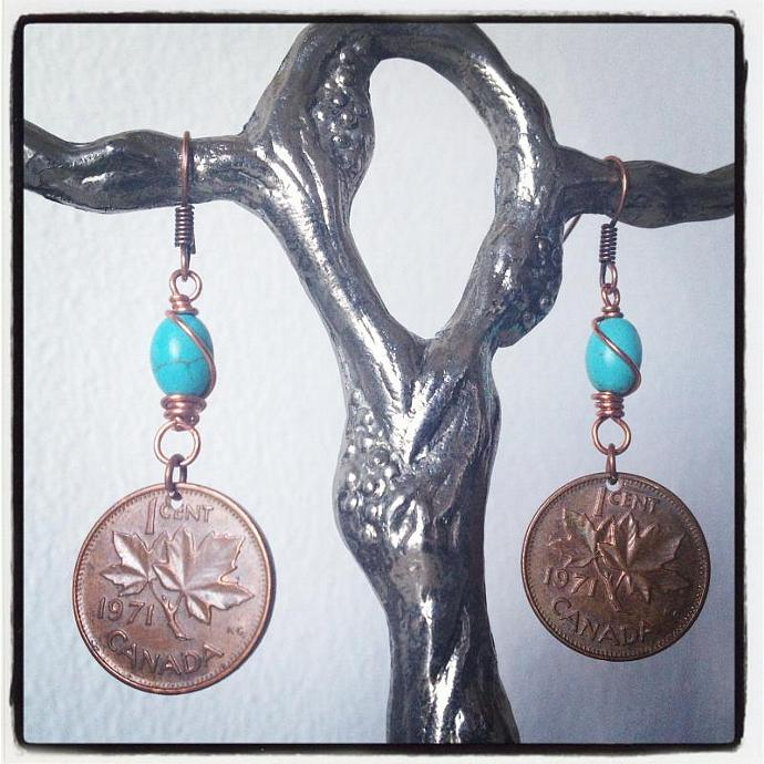 Turquoise Copper Penny Earrings