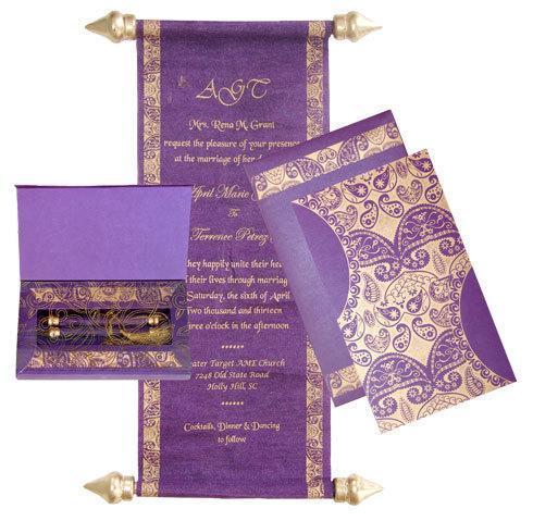 Mini Scroll Invitation in the box -Paisley invitation, Indie Invitations - FREE