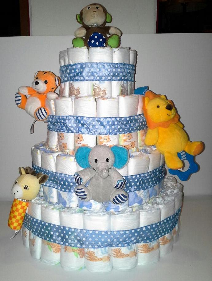 Light Blue Zoo Animals Themed Baby Shower 4 Tier Diaper Cake Table  Centerpiece