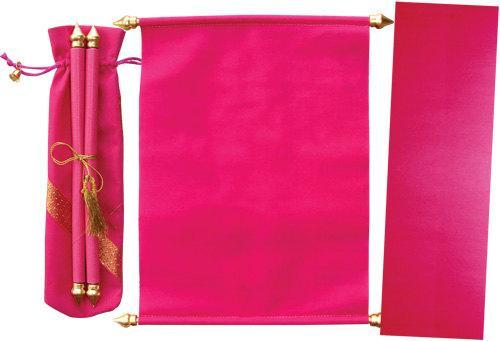 Velvet Fabric Scroll Invitation in velvet pouch & Envelope (Set of 25)