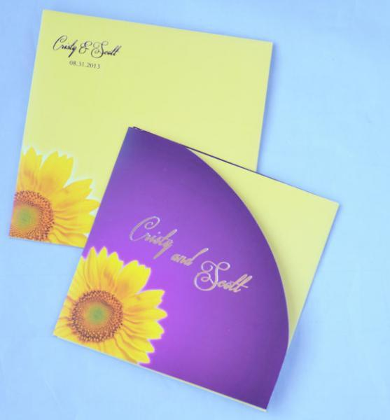 Sunflower invitation with foil printing On Sale (Set of 25) - Free Shipping