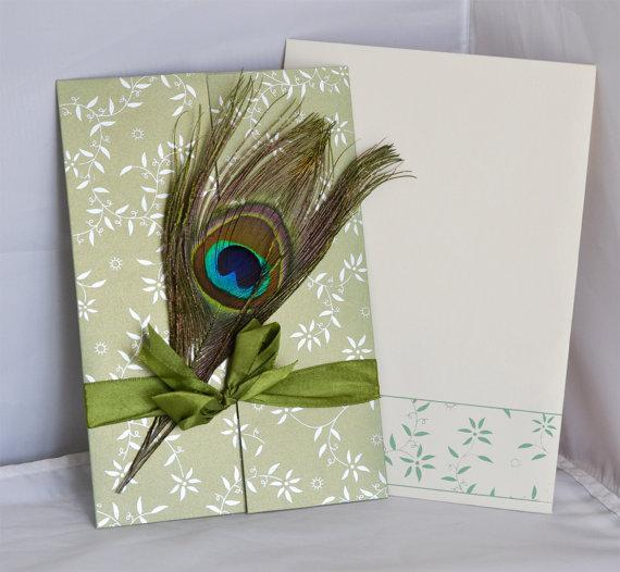 Peacock feather invitations - JR-20140-Olive green (Set of 25)