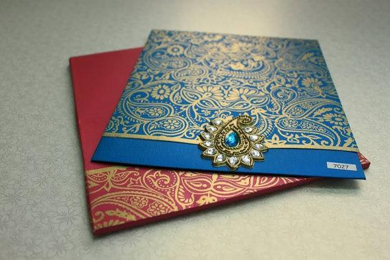 Paisley square Invitation with rhinestone jewelry (Set of 25) Free Shipping
