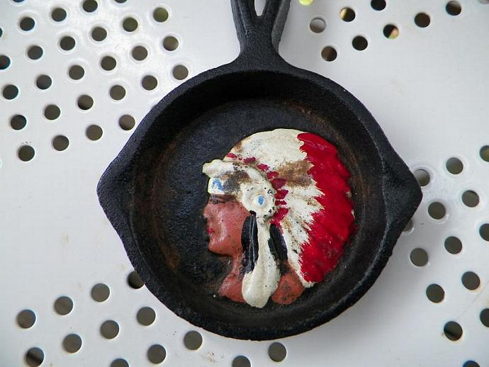 Vintage Cast Iron Mini Pan with Indian Head