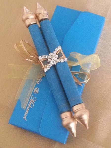 Mini Scroll with matching pouch (Set of 25) and rhinestone decoration, Baby